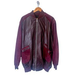 Custom Maroon Suede and Leather Bomber Jacket